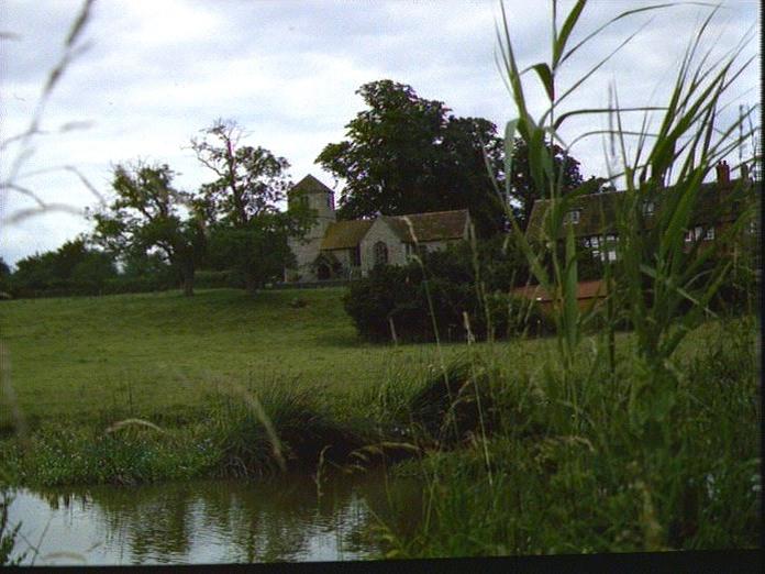 Oddingley Church from canal-1986