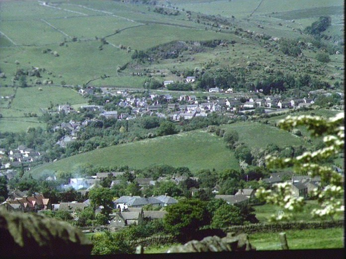 Calver, Curbar from Curbar Gap-1986