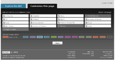 The 'Customise this page' panel