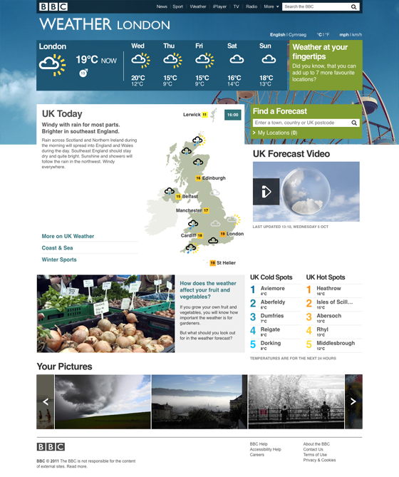 BBC Weather Homepage screenshot