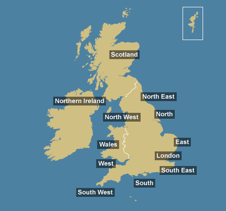 Map of UK tidal regions