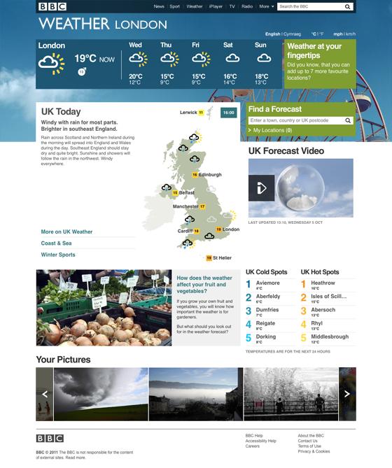 BBC Weather Homepage screenshot
