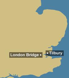 Tidal region map for London